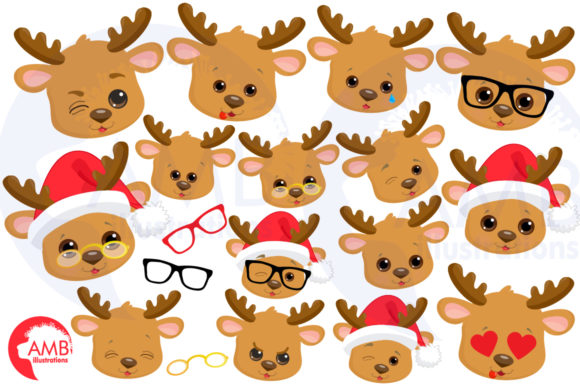 Reindeer Faces Graphic Illustrations By AMBillustrations - Image 3