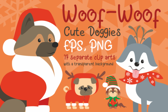 Print on Demand: Woof Cute Doggies in Christmas Costumes Graphic Illustrations By Olga Belova