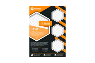 Download Free Black Orange Hexagon Property Flyer Graphic By Noory Shopper for Cricut Explore, Silhouette and other cutting machines.