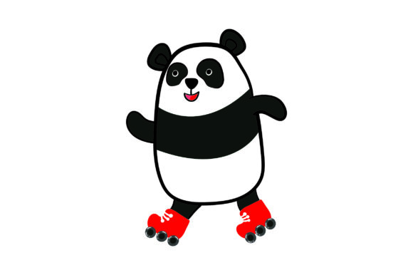 Download Free Panda Bear Roller Skating Svg Cut File By Creative Fabrica for Cricut Explore, Silhouette and other cutting machines.