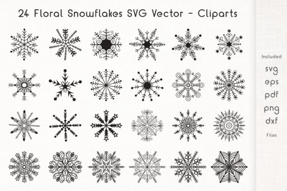 Print on Demand: 24 Floral Snowflakes Graphic Crafts By Dasagani - Image 1