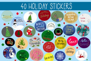 Download Free 40 Holiday Sticker Set Graphic By Capeairforce Creative Fabrica for Cricut Explore, Silhouette and other cutting machines.