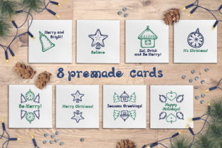 Download Free 8 Hand Drawn Christmas Cards Graphic By Av Design Creative Fabrica for Cricut Explore, Silhouette and other cutting machines.