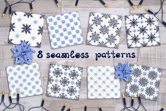 8 Snowflakes Patterns Graphic Patterns By AV Design