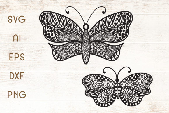 Download Free Butterfly Zentangle Graphic By Dasagani Creative Fabrica for Cricut Explore, Silhouette and other cutting machines.