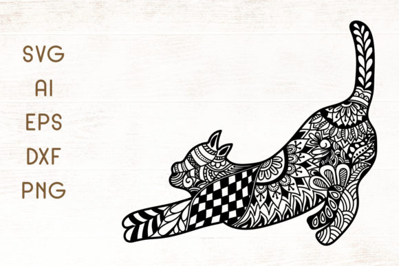Download Free Cat Zentangle Graphic By Dasagani Creative Fabrica for Cricut Explore, Silhouette and other cutting machines.
