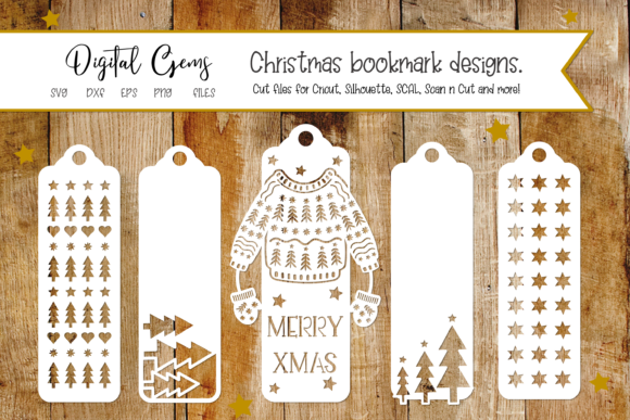 Download Free Christmas Bookmark Designs Graphic By Digital Gems Creative Fabrica for Cricut Explore, Silhouette and other cutting machines.