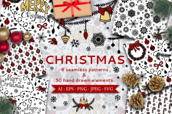 Print on Demand: Christmas Seamless Patterns Graphic Patterns By elionorik