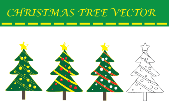 Download Free Christmas Tree Vector Graphic By Evand Creative Fabrica for Cricut Explore, Silhouette and other cutting machines.