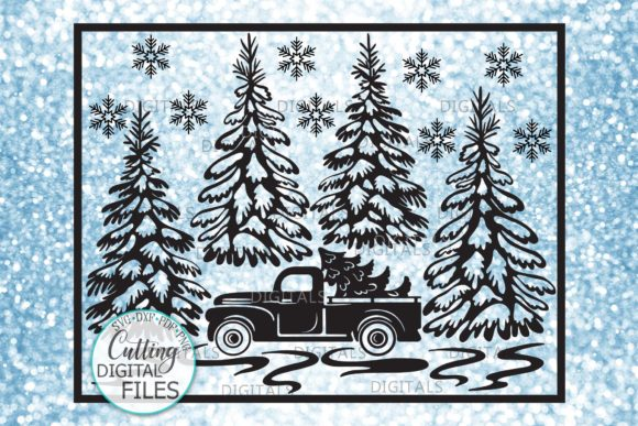 Christmas Truck Winter Scene Gráfico Crafts Por Cornelia