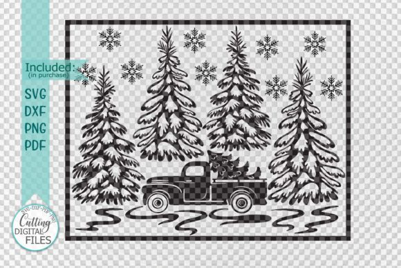 Download Free Christmas Truck Winter Scene Graphic By Cornelia Creative Fabrica for Cricut Explore, Silhouette and other cutting machines.