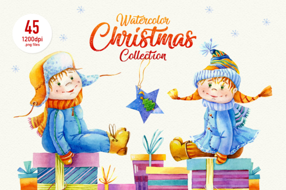 Christmas Watercolor Clipart Graphic Print Templates By ElephantArt