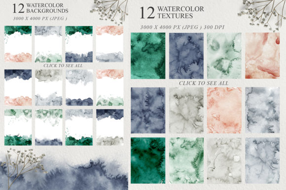 Elegant Watercolor Backgrounds Graphic Graphic