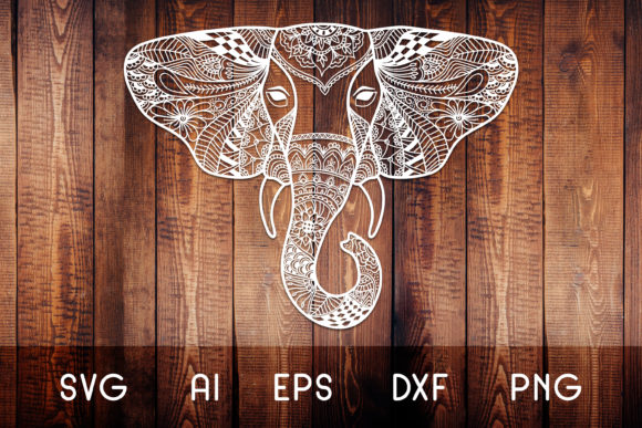 Print on Demand: Elephant Head Zentangle Graphic Crafts By Dasagani