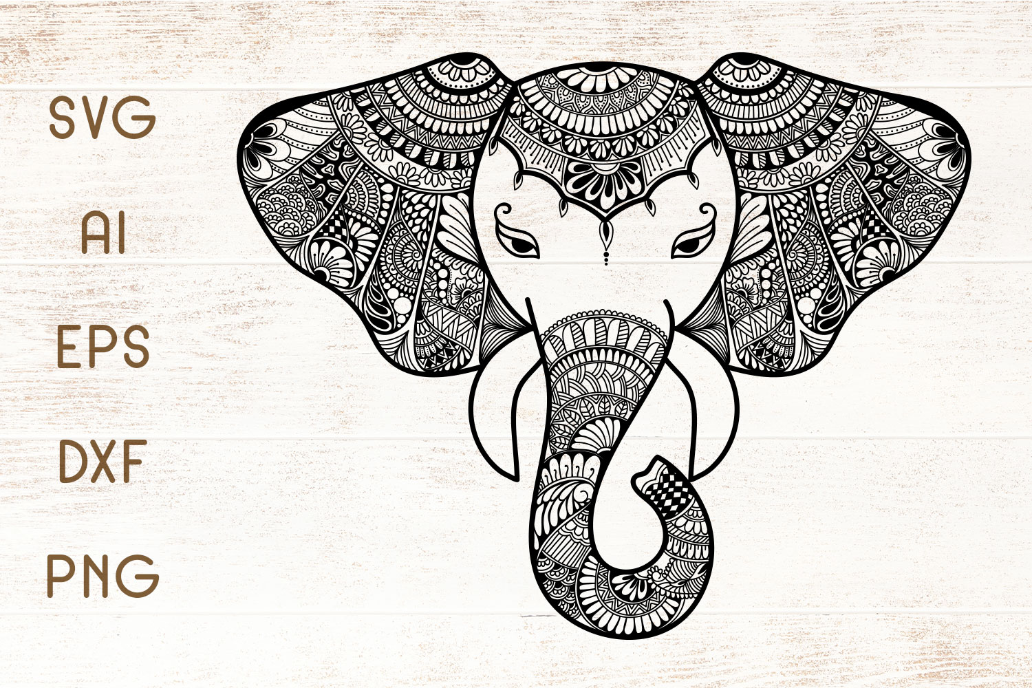 Download Free Elephant Zentangle Graphic By Dasagani Creative Fabrica for Cricut Explore, Silhouette and other cutting machines.