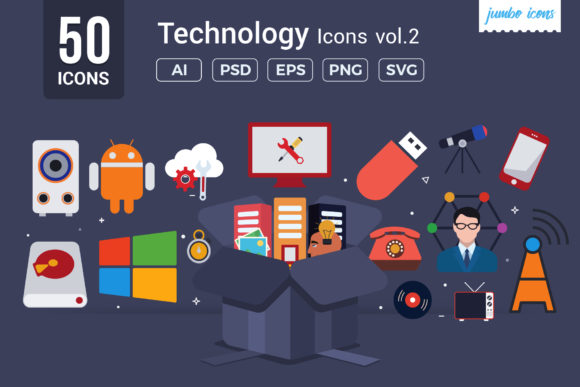 Print on Demand: Flat Vector Icons Technology Pack Graphic Icons By jumboicons