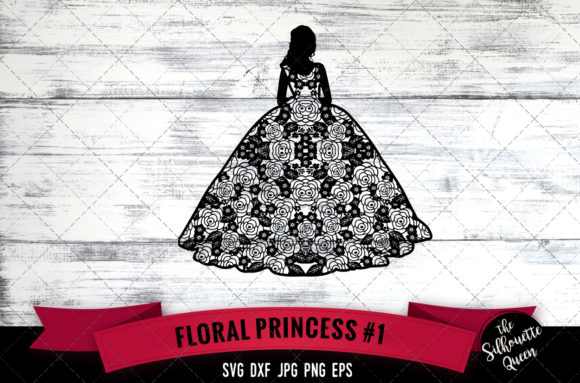 Download Free Floral Princess Graphic By Thesilhouettequeenshop Creative Fabrica for Cricut Explore, Silhouette and other cutting machines.