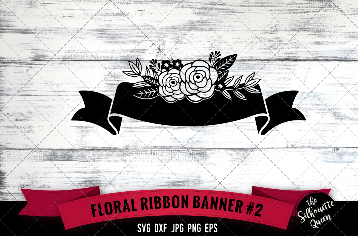Download Free Floral Ribbon Graphic By Thesilhouettequeenshop Creative Fabrica for Cricut Explore, Silhouette and other cutting machines.