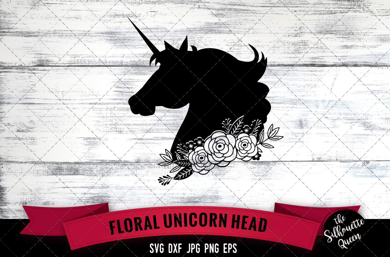 Floral Unicorn Head 3 Graphic By Thesilhouettequeenshop