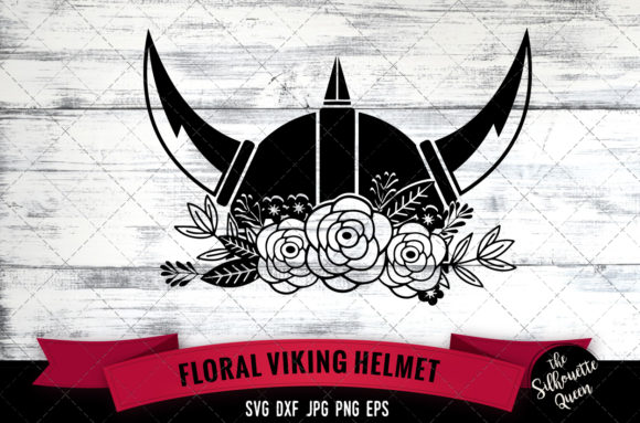 Floral Viking Helmet Graphic Crafts By thesilhouettequeenshop