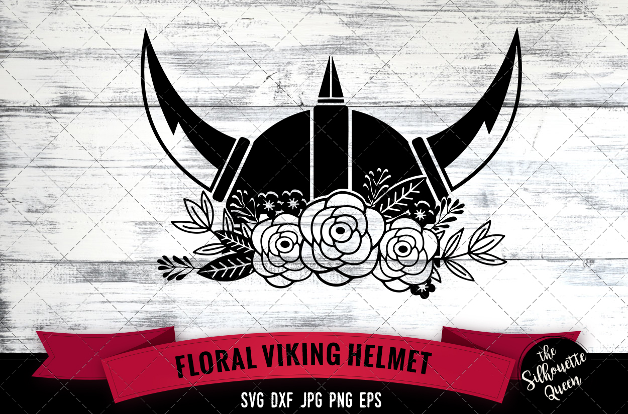 Download Free Floral Viking Helmet Grafik Von Thesilhouettequeenshop for Cricut Explore, Silhouette and other cutting machines.