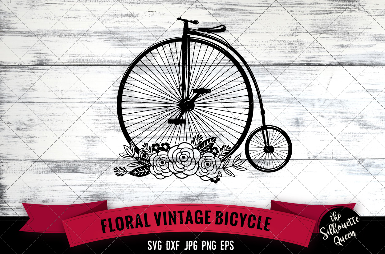 Download Free Floral Vintage Bicycle Graphic By Thesilhouettequeenshop Creative Fabrica for Cricut Explore, Silhouette and other cutting machines.