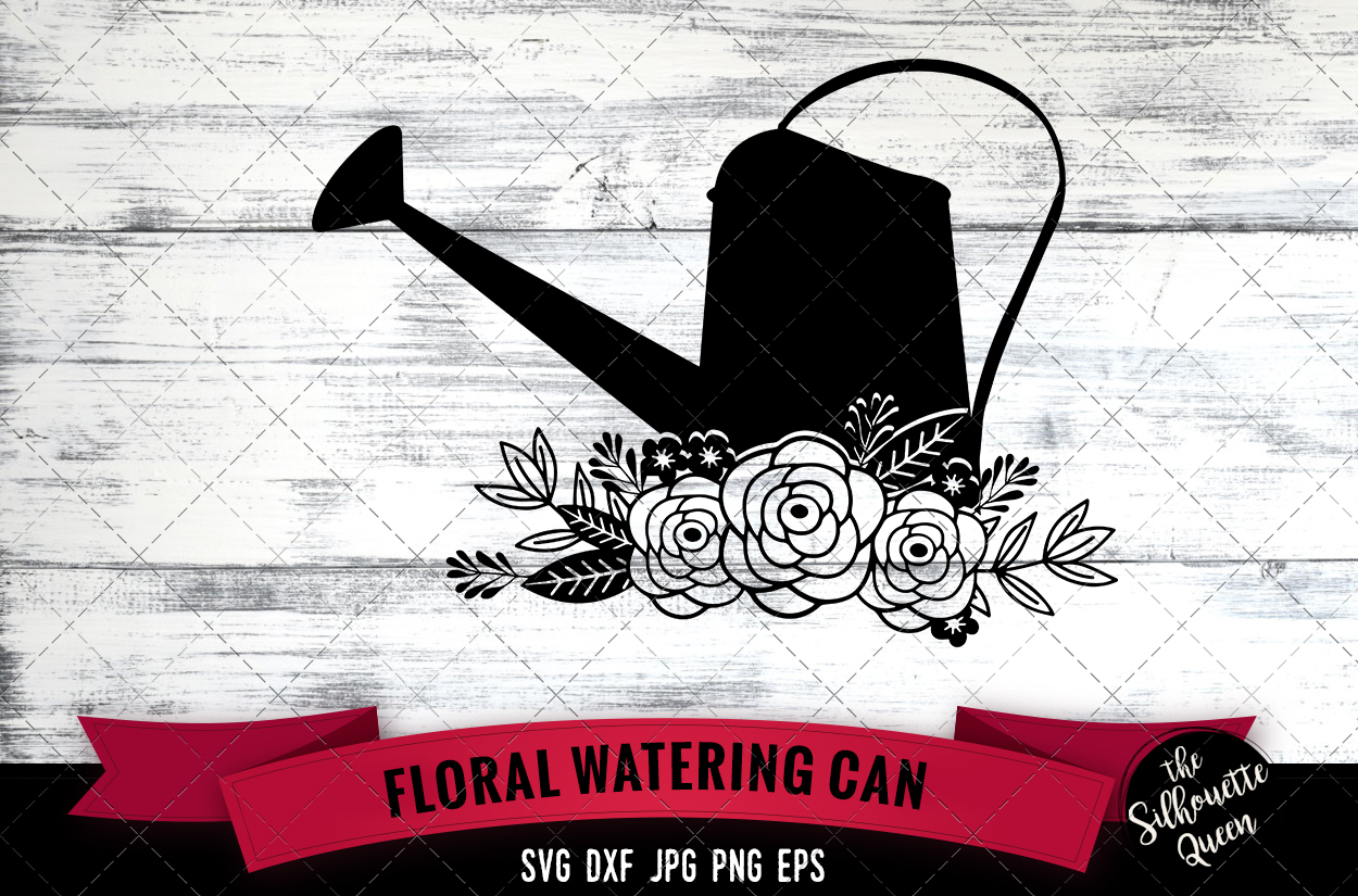 Download Free Floral Watering Can Graphic By Thesilhouettequeenshop Creative for Cricut Explore, Silhouette and other cutting machines.