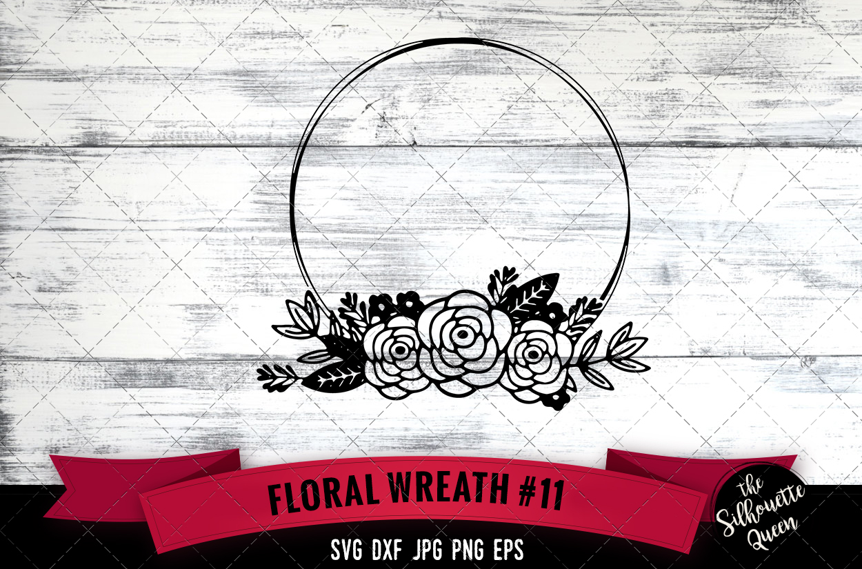 Download Free Floral Wreath 11 Graphic By Thesilhouettequeenshop Creative for Cricut Explore, Silhouette and other cutting machines.