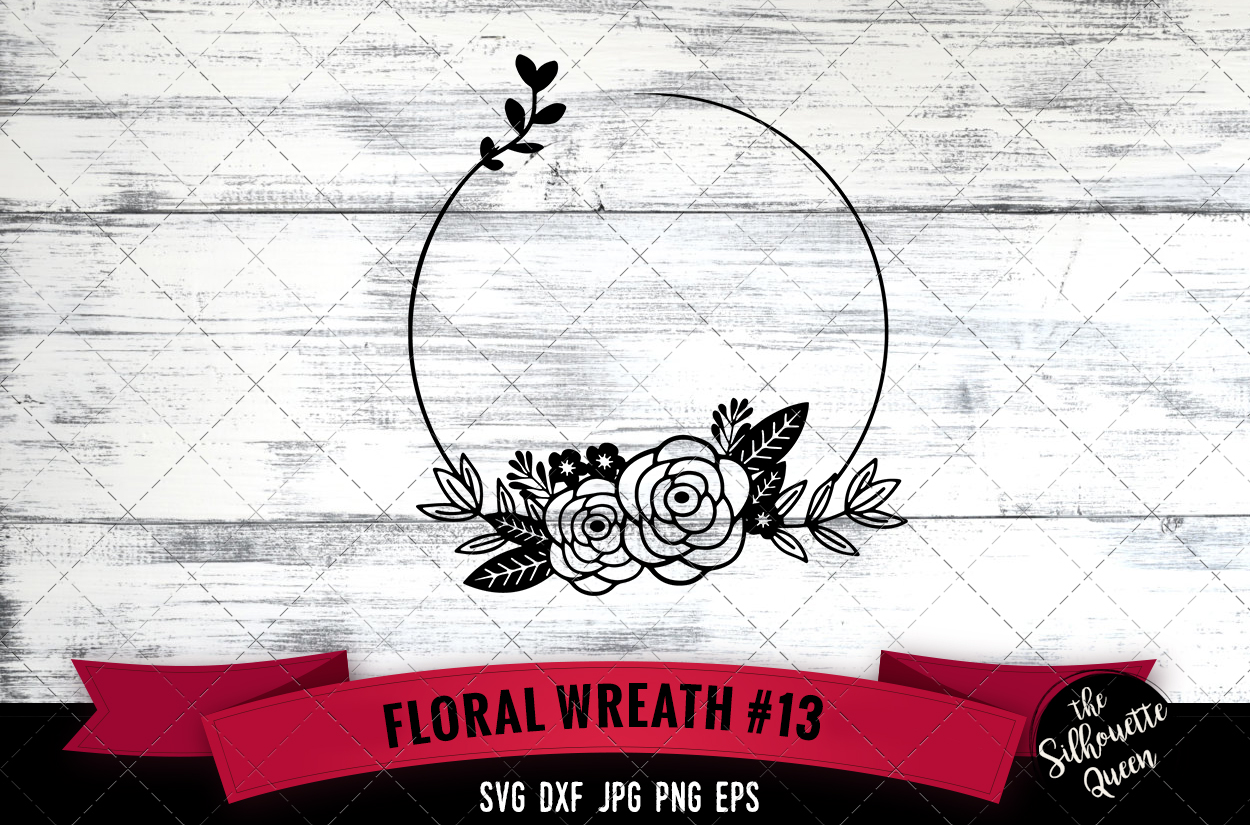 Download Free Floral Wreath 13 Graphic By Thesilhouettequeenshop Creative SVG Cut Files