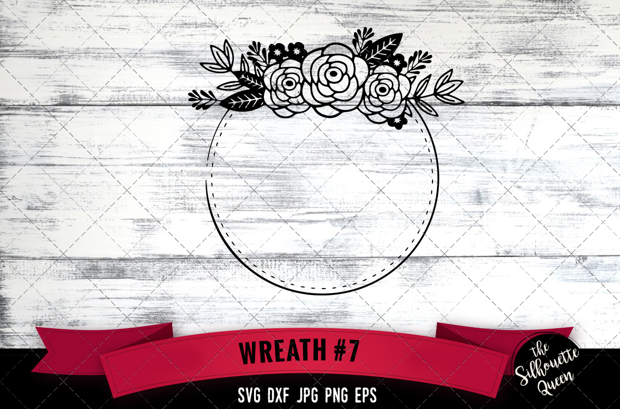 Download Free Floral Wreath 7 Graphic By Thesilhouettequeenshop Creative Fabrica for Cricut Explore, Silhouette and other cutting machines.