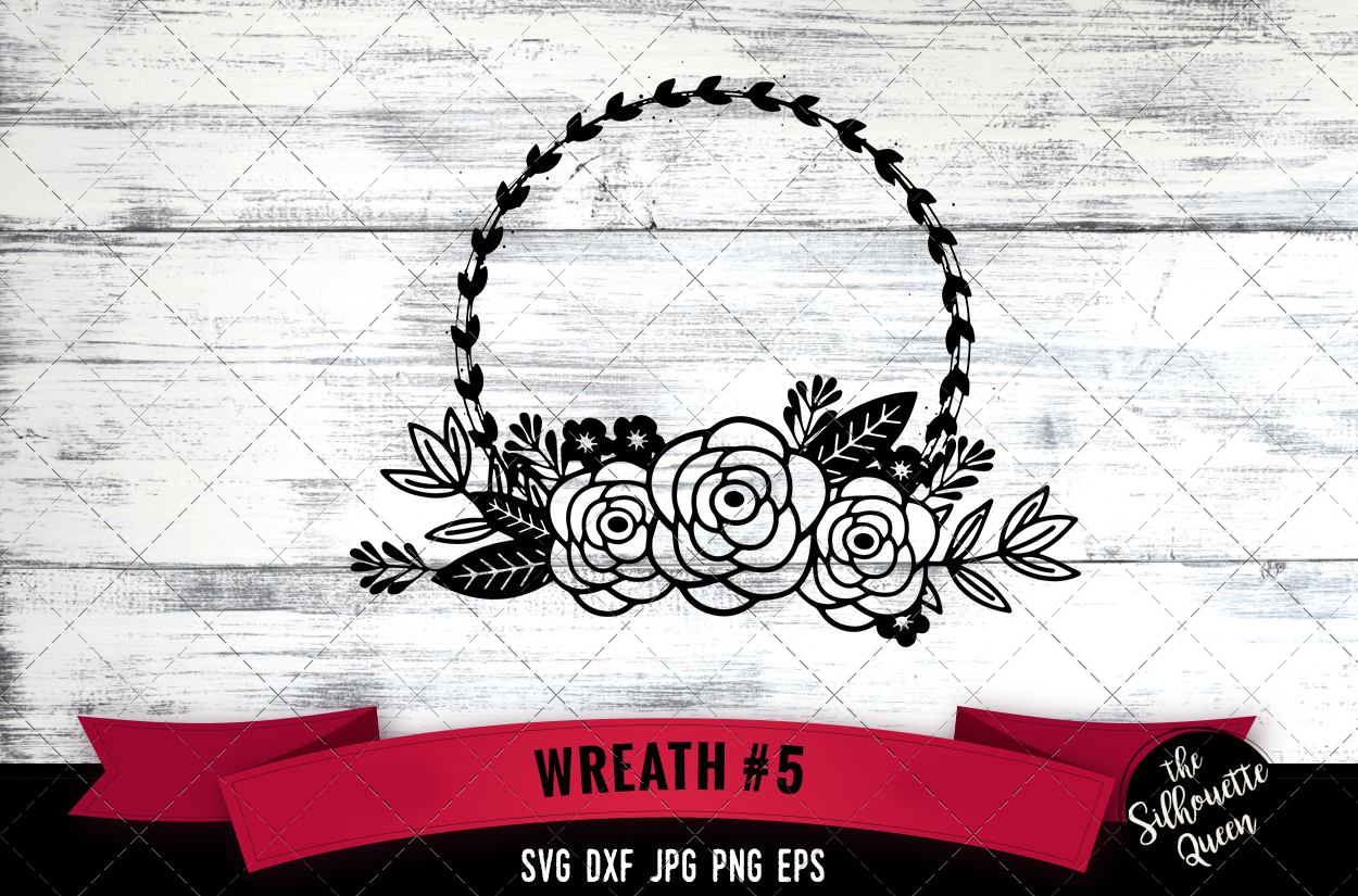 Download Free Floral Wreath Graphic By Thesilhouettequeenshop Creative Fabrica for Cricut Explore, Silhouette and other cutting machines.