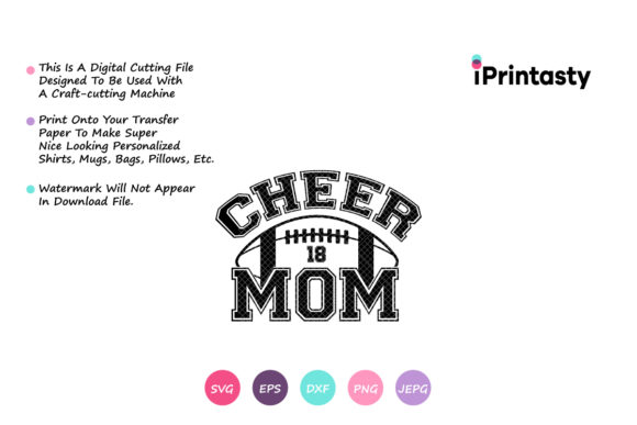 Download Free Football Mom Cheer Mom Football Graphic By Iprintasty Creative for Cricut Explore, Silhouette and other cutting machines.