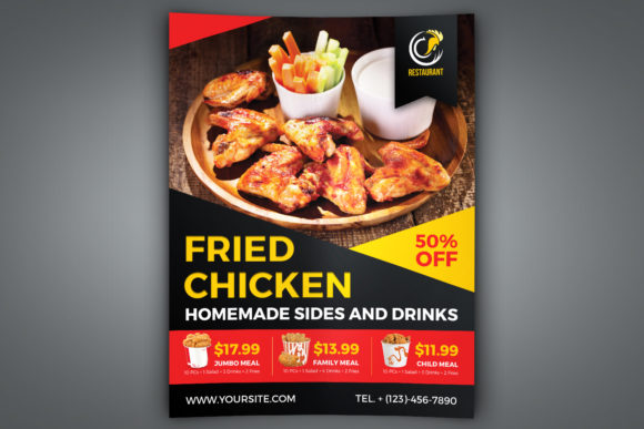 Download Free Fried Chicken Restaurant Flyer Template Grafico Por Owpictures for Cricut Explore, Silhouette and other cutting machines.