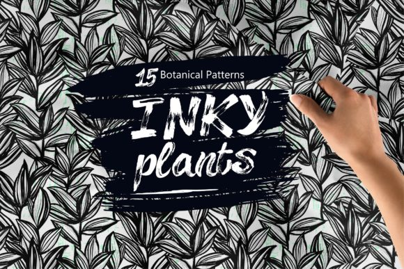 Inky Plants - 15 Botanical Patterns Graphic Patterns By MarynArts