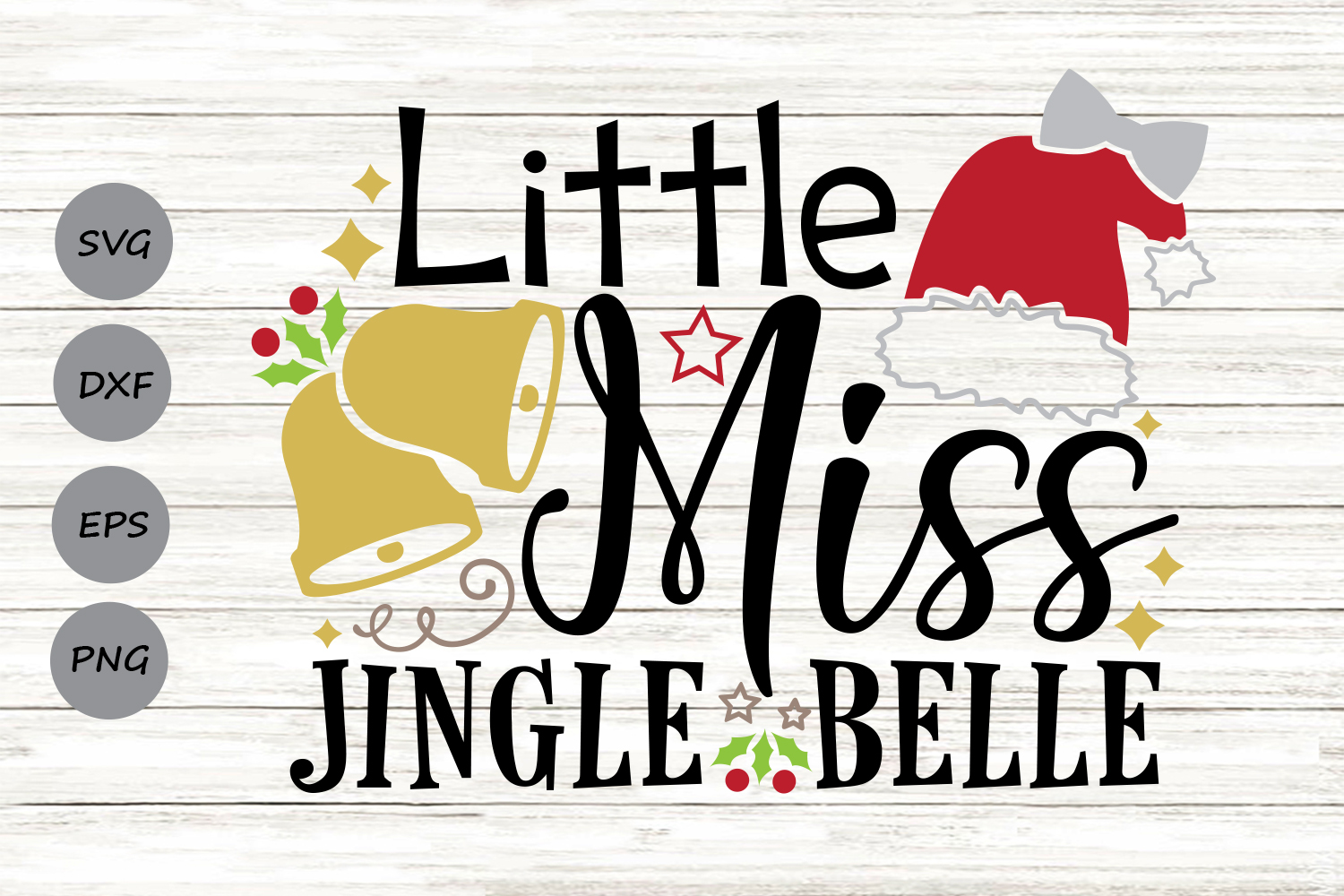 Download Free Little Miss Jingle Belle Graphic By Cosmosfineart Creative Fabrica for Cricut Explore, Silhouette and other cutting machines.