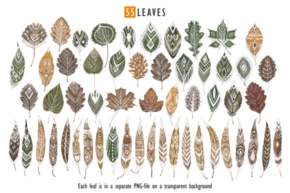Print on Demand: Patterned Leaves - Landart Collection Graphic Patterns By struvictory - Image 2