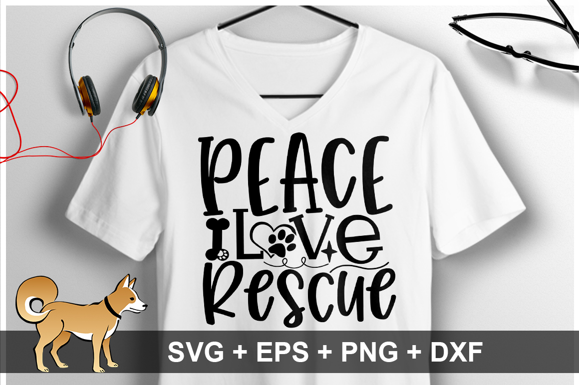 Download Free Peace Love Rescue Svg Graphic By Orindesign Creative Fabrica for Cricut Explore, Silhouette and other cutting machines.