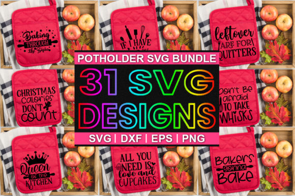 Print on Demand: Potholder Bundle Graphic Print Templates By Designdealy.com
