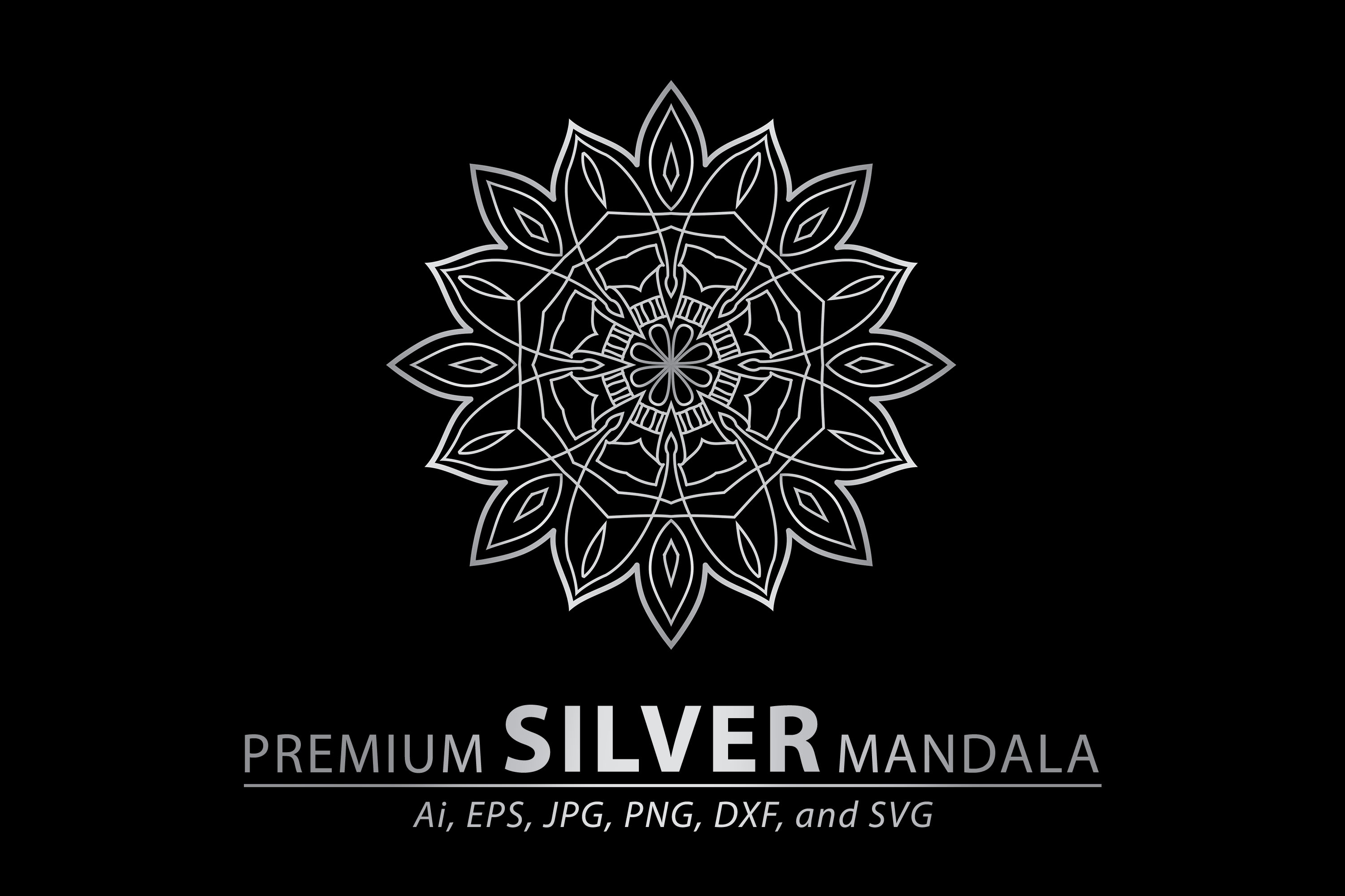 Download Free Premium Silver Mandala Vector Art Patter Graphic By for Cricut Explore, Silhouette and other cutting machines.