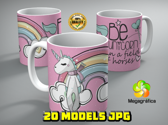 Print on Demand: Unicorn Mugs Designs Graphic Print Templates By Megagrafica