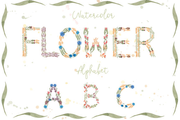 Watercolor Flowers Alphabet Graphic Illustrations By Maya Navits