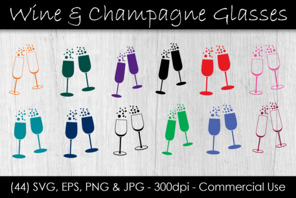 Download Free Wine Champagne Glass Bundle Graphic By Gjsart Creative Fabrica for Cricut Explore, Silhouette and other cutting machines.