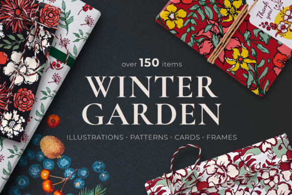 Winter Floral Patterns & Illustrations Graphic Illustrations By CatJello Graphics