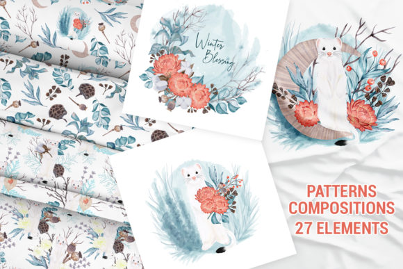 Print on Demand: Winter Nature Pack Patterns Compositions Graphic Patterns By PawStudio