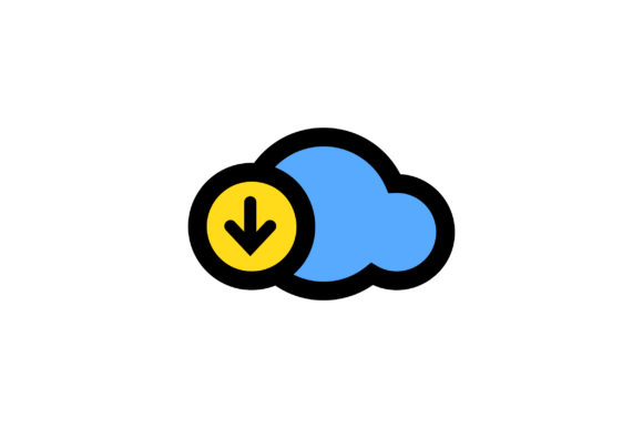 Download Free Cloud Download Liner Fill Icon Vector Graphic By Riduwan Molla Creative Fabrica for Cricut Explore, Silhouette and other cutting machines.
