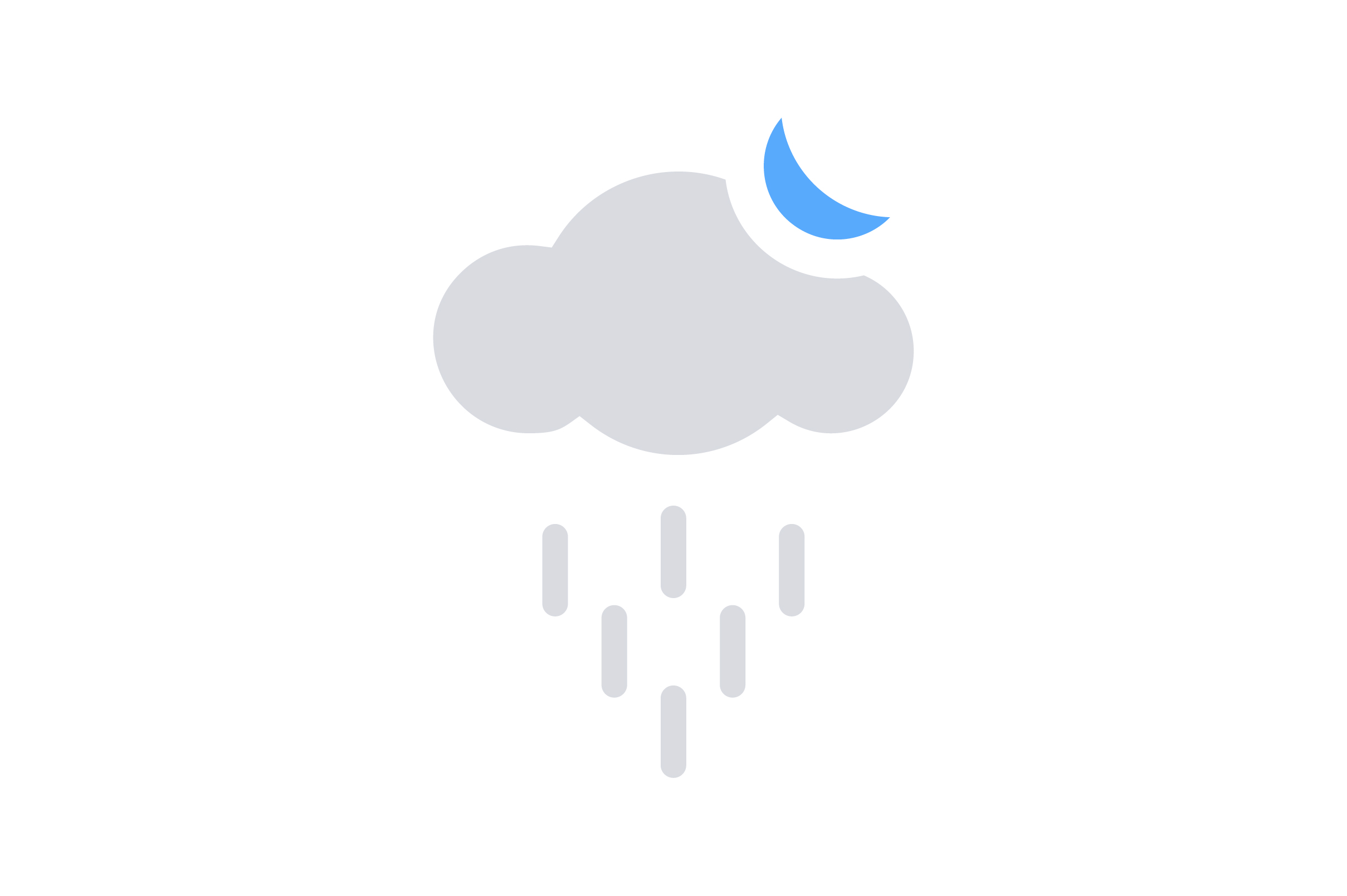 Download Free Cloud Rain And Moon Flat Icon Graphic By Riduwan Molla for Cricut Explore, Silhouette and other cutting machines.