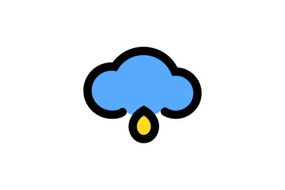 Download Free Cloud With Rain Drop Liner Fill Icon Graphic By Riduwan Molla for Cricut Explore, Silhouette and other cutting machines.