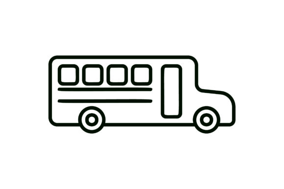 Download Free School Bus Line Art Icon Graphic By Riduwan Molla Creative Fabrica for Cricut Explore, Silhouette and other cutting machines.