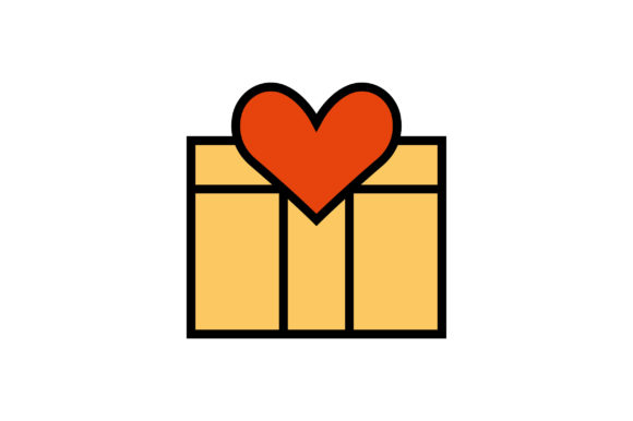 Download Free Valentine Gift Box Liner Fill Icon Graphic By Riduwan Molla for Cricut Explore, Silhouette and other cutting machines.