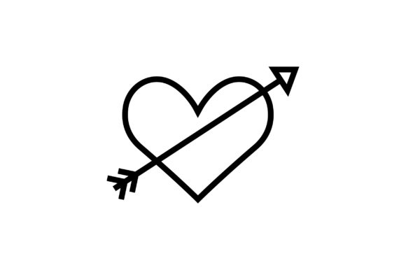 Print on Demand: Valentine Heart with Arrow Icon Graphic Icons By Riduwan Molla